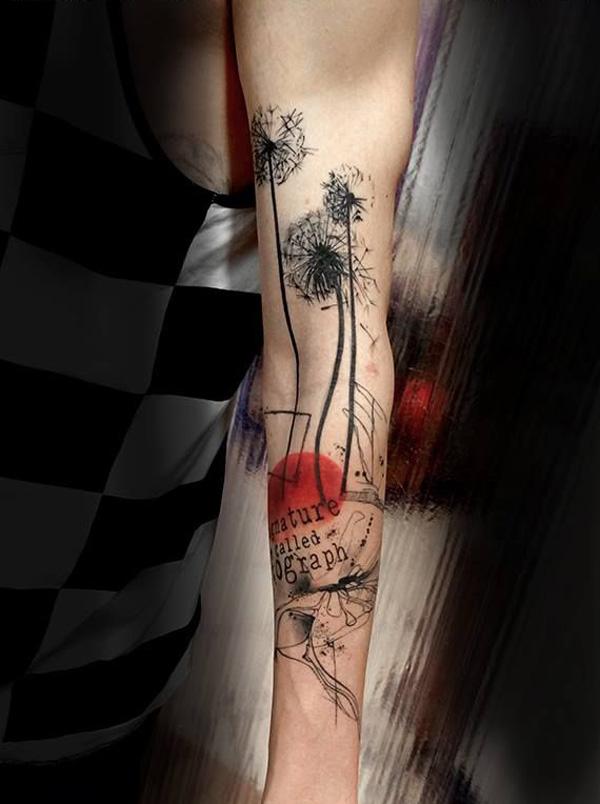 45 dandelion tattoo designs for women and man in black colorful ink. Black Bedroom Furniture Sets. Home Design Ideas