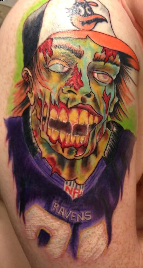 40 realistic zombie tattoo ideas designs with meaning for Ravens face tattoos