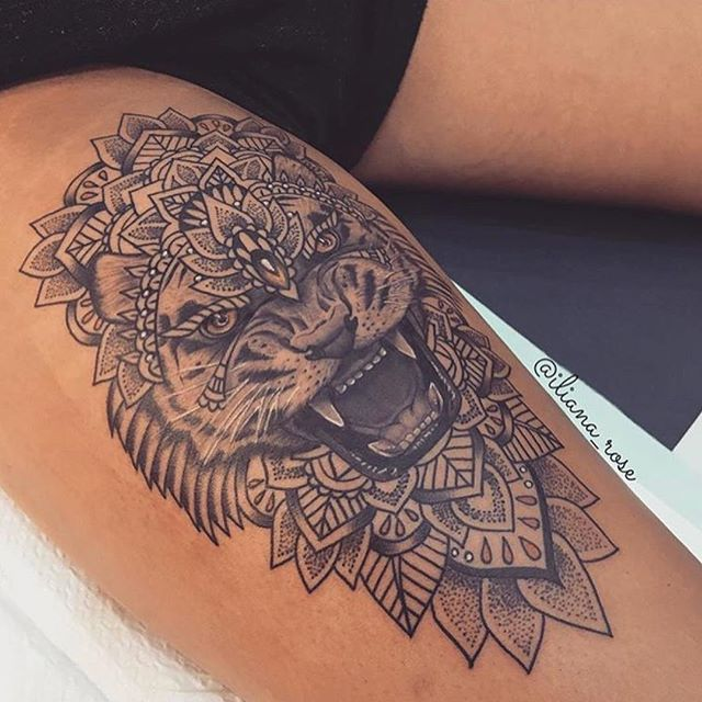 Beautiful Tiger Tattoo Design On Thigh: 27 Tremendous Leg Tattoo For All The Boys And Girls