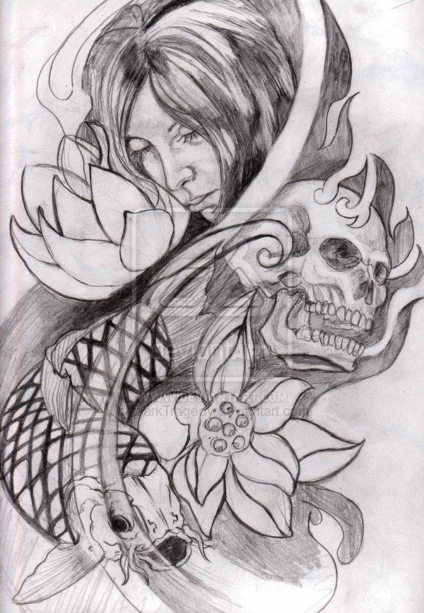 beautiful flowers skull n koi fish tattoo design for girls picsmine. Black Bedroom Furniture Sets. Home Design Ideas