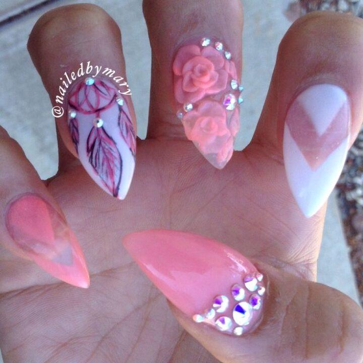 Rose Nail Art Acrylic Nails: Diffrent Sharp Nail With Pink Rose 3D Acrylic Nail Art