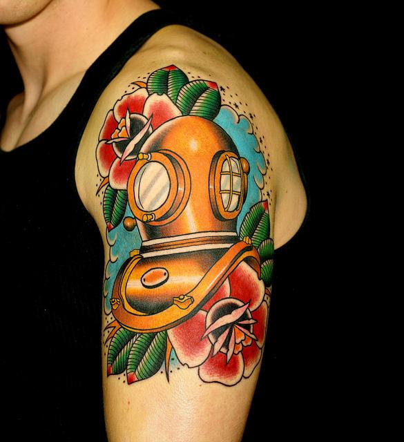 43 Versatile Diving Helmet Tattoo Designs Ideas Amp Images Picsmine