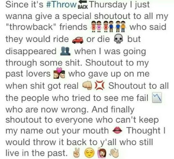 Tbt Quotes Since it's throw thursday i just wanna give a special shoutout to all my throwback friends